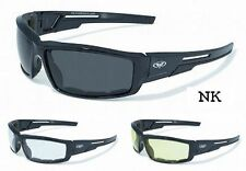 Sly Foam Padded Motorcycle Biker Quad ATV Sunglasses-Smoked Clear Yellow Lenses