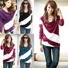 Hot Women Long Sleeve Striped Loose T-Shirts Casual Basic Tee Tops Blouse M-XXL