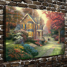 Thomas Kinkade Victorian Autumn, HD Canvas Print Giclee Home wall Art decor