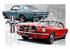 1964 Mustang Coupe Automotive Art Prints - Ford Mustang Prints By Unique Autoart
