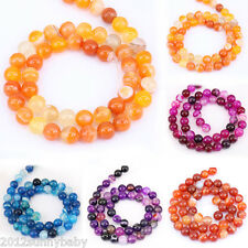 Lots Stripes Agate Round Gemstone Loose Beads Pendant Necklace Jewelry 4-12MM