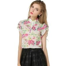 New Womens Ladies Floral Print Short Sleeve Pullover Chiffon Tops Blouse Shirt
