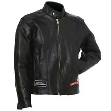 MENS MOTORCYCLE LEATHER JACKET w/ NEHRU COLLAR & LIVE TO RIDE PATCHES