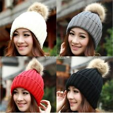Fashion Beret Ski Beanie Ball Cap Winter Warm Crochet Knit Hat For Women Lady