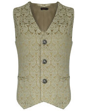 Pentagramme Mens Waistcoat Vest Cream Brocade Gothic Steampunk Wedding VTG