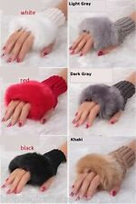 Faux Fur Trim Fingerless Acrylic Sweater Knit Gloves/Hand Warmers *7 Colors* OS