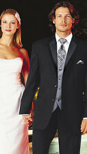 41 Long Groom Groomsmen Black 2 Button Classic Tuxedo Set Wedding Tux Formal