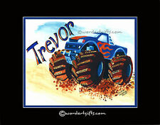 PERSONALIZED MONSTER TRUCK VEHICLES PICTURES POSTERS BOYS ROOM WALL ART DECOR