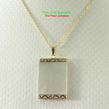 TPJ Greek Key Design 14k Yellow Gold 18x25mm White Mother of Pearl Board Pendant