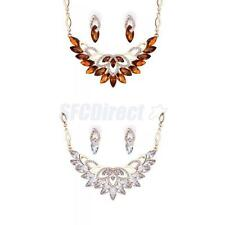 Fashion Party Rhinestone Crystal Chain Necklace Earrings Sets Women Jewelry New