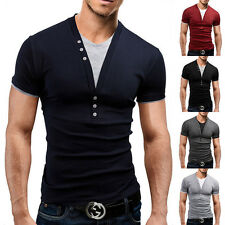 2016 Fashion Mens Casual T-shirt Fake Two-piece Short Sleeve V Neck Top Blouse
