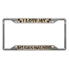 BELGIAN MALINOIS DOG Metal License Plate Frame Tag Holder Four Holes
