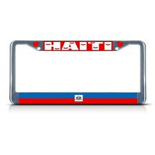 HAITI COUNTRY FLAG Metal License Plate Frame Tag Border Two Holes