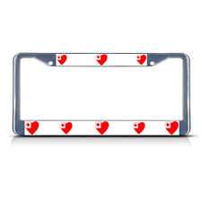 LOVE HEART TONGA COUNTRY FLAG Metal License Plate Frame Tag Border Two Holes