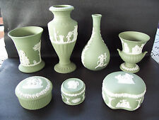 7 Pieces of Wedgwood Green jasperware  in excellent condition.