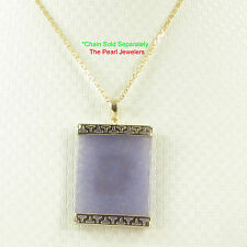 TPJ Greek Key Design 14k Yellow Gold; 30mm Lavender Jade Board Pendant Necklace
