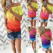 Womens Ladies Ombre Tie-dye Short Sleeve T-shirt Blouse Casual Tops Summer Tee