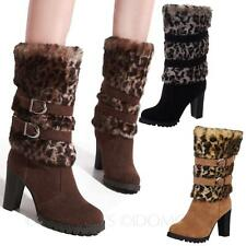 Sz 34-43 Pump Womens Leopard Mid Calf Heel Boots Shoes AU sz 4 5 6 7 8 9 10