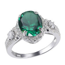 Hot 4.9ct Oval Green Emerald Sapphire 925 Sterling Silver Gemstone Ring Size 6-9