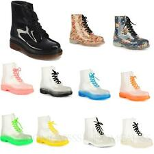 SSS Martin Rain Womens Combat Shoes Summer Ankle Clear Jelly Boots US Sz 5 6 7 8