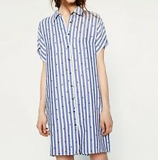 New Womens Ladies Striped Print Short Sleeve Long Button Down Shirt Blouse