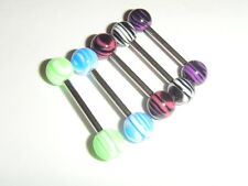STEEL BARBELL UV REACTIVE ZEBRA BALLS ~ 1.6mm Tongue Nipple Bar Choose Colour