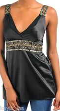 Black Beaded Straps/Empire Waistline Chiffon Layered Bust Tank Top M