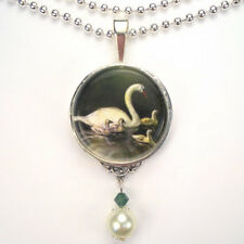 SWAN BIRD SYGNET BABIES 'VINTAGE CHARM' SILVER OR BRONZE ART PENDANT NECKLACE