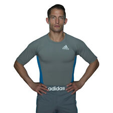 Adidas Foundation Short Sleeve MMA Rashguard - Granite/Blue