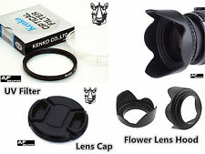 F63 Lens Hood + Lens Cap + UV Filter 82mm for Digital Camera Camcorder Lenses