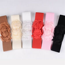 Fashion Girls chiffon Double Rose Flower Buckle Elastic Waist Belt Waistband