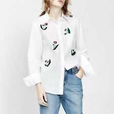 New Womens Floral Embroidered White Long Sleeve Button Down Shirt Blouse Tops