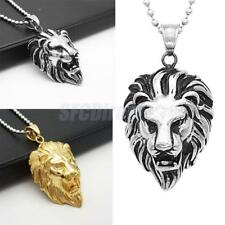 Men's Stainless Steel Fashion Silver Gold Lion Head Chain Necklace Pendant