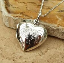 925 Sterling Silver Heart Tree of Life Photo Locket Pendant Necklace Jewellery