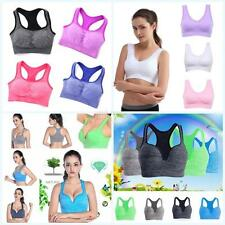 Womens Seamless Racerback Padded Sports Bra Yoga Fitness Gym Workout Tank Top