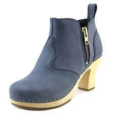 Swedish Hasbeens 382 Women  Round Toe Leather Blue Bootie