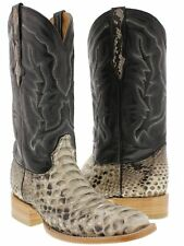 mens real python snake skin leather cowboy boots square toe riding western