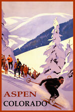 SKI ASPEN COLORADO DOWNHILL SKIING WINTER SPORT USA TRAVEL VINTAGE POSTER REPRO