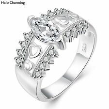 High Quality Heart Silver Plated Fashion Jewelry Zircon Rings Decoration Hollow