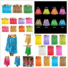 Fashion Kids Adult Hawaiian Hula Grass Skirt Flower Wristband Party Beach Dress