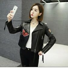 New Womens Black Floral Embroidered Patch Faux Leather Bomber Biker Jacket Coat