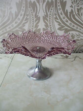 Vintage retro Purple Glass Wavy Edged Pedestal Cake Stand 8.5