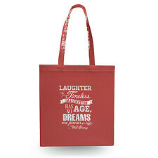 Red Laughter is Timeless Walt Disney Quote Canvas Tote Bag - 16x16 inch Book Gym