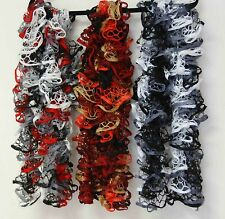 Ruffle & Frill Scarf Hand-knit w Starbella / Black & White w Gray or Red