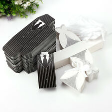 100/200 PC DRESS TUXEDO BRIDE GROOM CARRIAGE WEDDING FAVOR RIBBON CANDY BOXES
