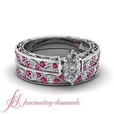 1.15 Ct Marquise Cut Diamond & Pink Sapphire Archaic Style Wedding Rings Set SI1