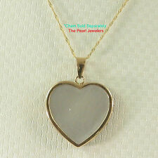 14k Yellow Solid Gold Heart Shape; White Mother of Pearl Pendant Necklace TPJ