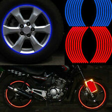 Blue Red Reflective Motorcycle Car RIM Stripe Wheel Tape Decal Sticker 18 Strips