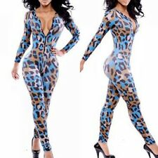 Womens Sexy Jumpsuits Leopard Rompers Clubwear Bandage Long Outfit Bodysuit