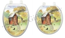 Watercolor Outhouse Toilet Tattoo Wooden Country Rustic Johnnie House TT-JK01